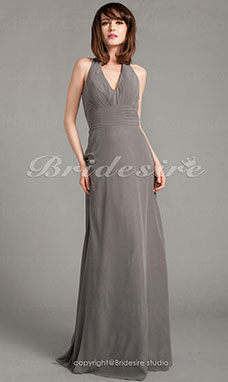 Sheath/ Column Chiffon Floor-length V-neck Evening Dress