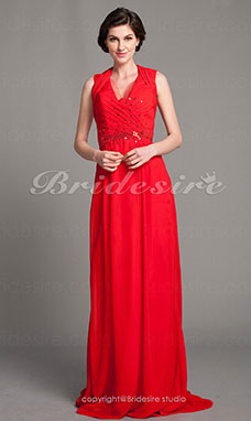 Sheath/ Column Chiffon Sweep/ Brush Train V-neck Mother of the Bride Dress