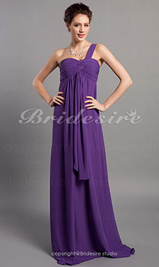 Sheath/ Column Empire Floor-length Chiffon One Shoulder Bridesmaid Dress