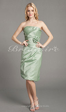 Sheath/ Column Taffeta Knee-length Side-Draped Strapless Bridesmaid Dress
