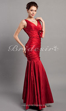 Trumpet/ Mermaid Floor-length Taffeta V-neck Evening Dress