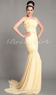 Trumpet/ Mermaid Chiffon Sweep/ Brush Train Strapless Evening Dress