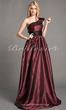 A-line Taffeta Satin Floor-length One Shoulder Bridesmaid Dress
