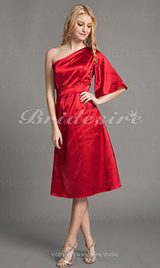 Sheath/ Column Charmeuse Knee-length One Shoulder Bridesmaid Dress