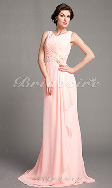 A-line Chiffon Sweep/ Brush Train V-neck Mother of the Bride Dress