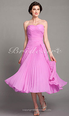 A-line Chiffon Tea-length Sweetheart Mother of the Bride Dress
