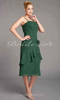 A-line Chiffon Tea-length Spaghetti Straps Mother of the Bride Dress