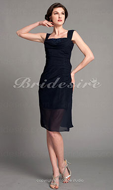 Sheath/ Column Chiffon Knee-length Straps Mother of the Bride Dress