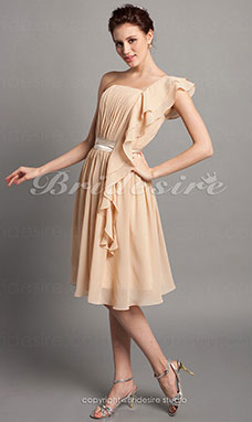 Sheath/ Column Knee-length Draped Chiffon One Shoulder Bridesmaid Dress