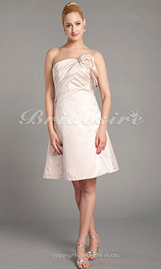 A-line Satin Knee-length Strapless Bridesmaid Dress With Criss-Cross Bodice