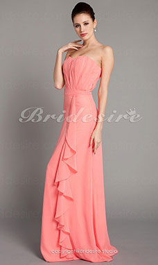 Sheath/ Column Chiffon Strapless Side-Draped Floor-length Bridesmaid Dress