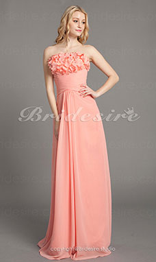 Sheath/ Column Chiffon Floor-length Strapless Bridesmaid Dress