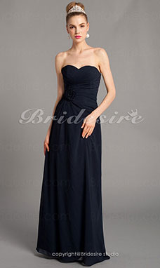 Sheath/ Column Chiffon Strapless Floor-length Sweetheart Bridesmaid Dress