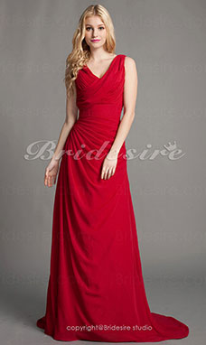 Sheath/Column Chiffon Sweep/Brush Train Cowl Evening Dress