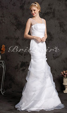 Mermaid/Trumpet Tulle Floor-length Off-the-shoulder Wedding Dress