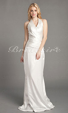 Sheath/ Column Elastic Woven Satin Floor-length Halter Wedding Dress