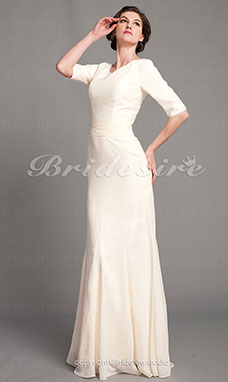A-line Chiffon Square Floor-length Half Sleeve Mother of the Bride Dress