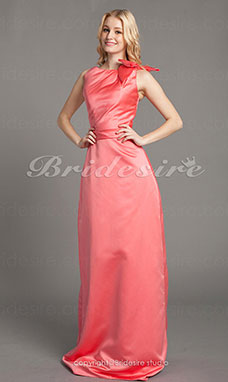 Sheath/ Column Satin Floor-length Bateau Bridesmaid Dress