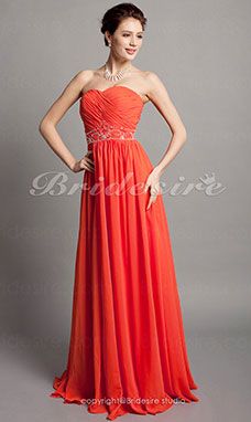 Sheath/ Column Chiffon Floor-length Sweetheart Evening Dress