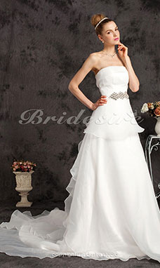 A-line Organza Court Train Strapless Wedding Dress With Tiered