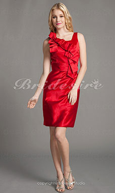 Sheath/ Column Satin Short/ Mini Square Bridesmaid Dress
