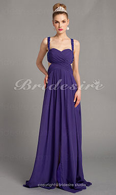 Sheath/Column Chiffon Floor-length Straps Evening Dress