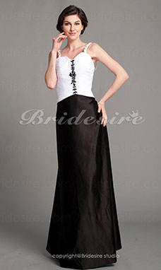 A-line Stretch Satin Floor-length Spaghetti Straps Mother of the Bride Dress