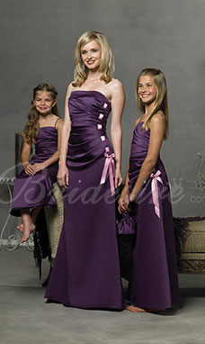 A-line Spaghetti Floor-length Satin Junior Bridesmaid Dress
