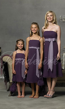 A-line Spaghetti Knee-length Chiffon Flower Girl Dress