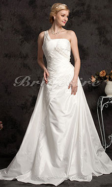 Sheath/ Column Taffeta Chapel Train One Shoulder Wedding Dress