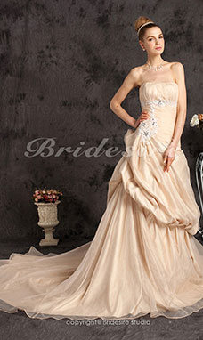 A-line Organza Court Train Strapless Wedding Gown