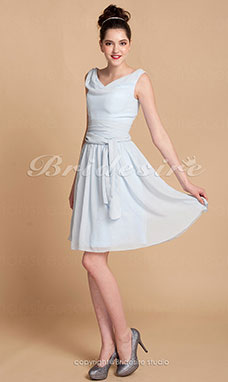 A-line Knee-length Chiffon Cowl Bridesmaid Dress