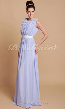 A-line Chiffon Floor-length Scoop Evening Dress