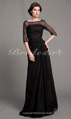 A-line Chiffon Floor-length Bateau Mother of the Bride Dress