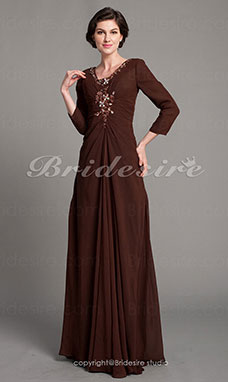 A-line Chiffon Floor-length V-neck Mother of the Bride Dress