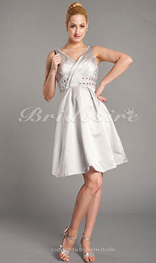 A-line Spandex Knee-length V-neck Mother of the Bride Dress