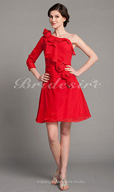 A-line Chiffon Knee-length One Shoulder Mother Of The Bride Dress