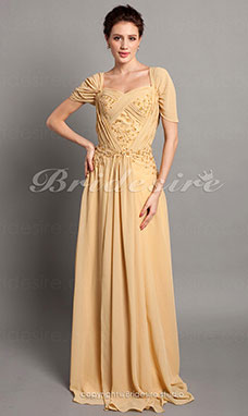Sheath/Column Chiffon Floor-length Off-the-shoulder Mother of the Bride Dress