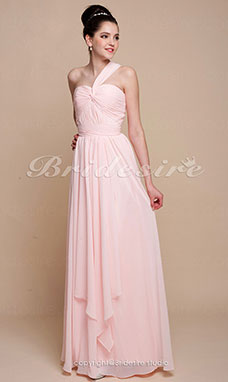A-line Chiffon Floor-length One Shoulder Evening Dress