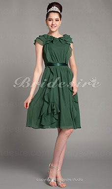 A-line Princess Knee-length Chiffon V-neck Cocktail Dress