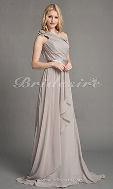 Sheath/ Column Chiffon Sweep/ Brush Train One Shoulder Bridesmaid Dress