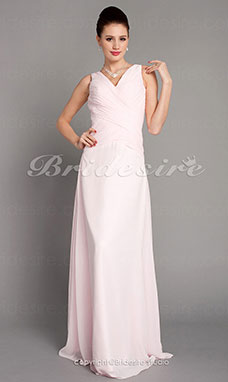 A-line Chiffon V-neck Floor-length Bridesmaid Dress With Criss-Cross Bodice