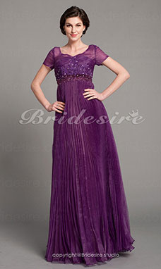 A-line Stretch Satin And Organza Floor-length V-neck Mother Of The Bride Dress