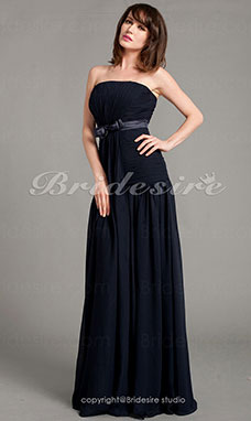 Sheath/Column Chiffon Floor-length Strapless Mother of the Bride Dress