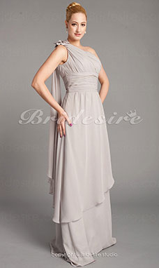 Sheath/Column Chiffon Floor-length One Shoulder Mother of the Bride Dress