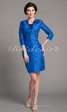 Sheath/Column Taffeta Knee-length Mother Of The Bride Dress
