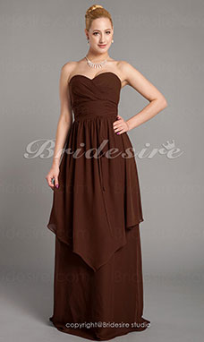 Sheath/Column Chiffon Floor-length Sweetheart Bridesmaid Dress