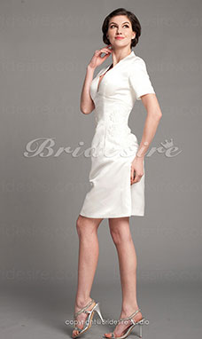 Sheath/Column Satin Knee-length V-neck Mother of the Bride Dress
