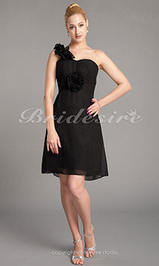 Sheath/Column Chiffon Knee-length One Shoulder Mother Of The Bride Dress