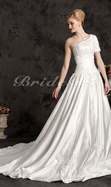 Ball Gown Satin Court Train One Shoulder Wedding Dress